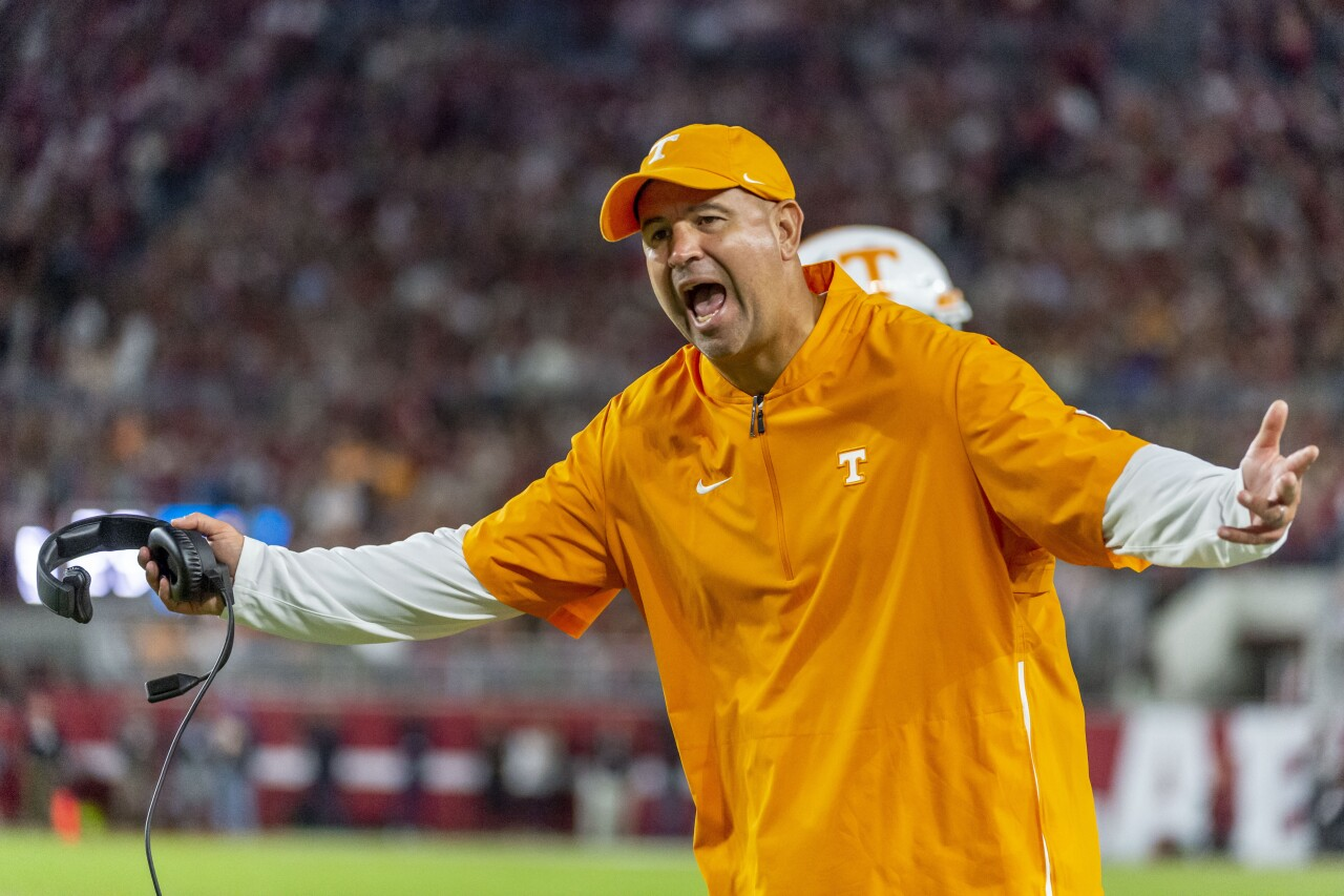 Tennessee Volunteers head coach Jeremy Pruitt yells during 2019 Alabama game