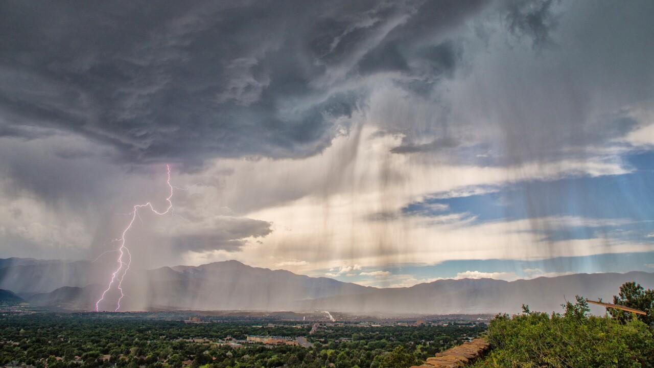 Palmer Park lightning storm over Colorado Springs