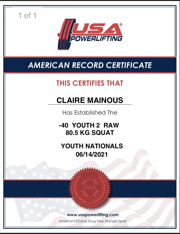 Claire Mainous record