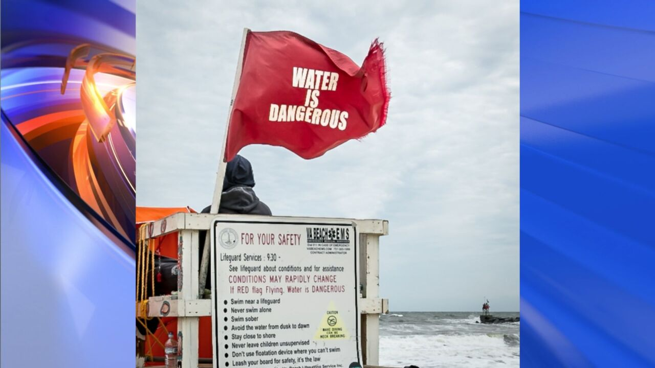 Virginia Beach flying red flags at all beaches