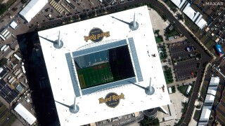 This satellite image taken Jan. 26, 2020, and provided by Maxar Technologies shows Hard Rock Stadium in Miami Gardens, Fla. The San Francisco 49ers are scheduled to face the Kansas City Chiefs in the NFL Super Bowl 54 football game on Sunday at the stadium.