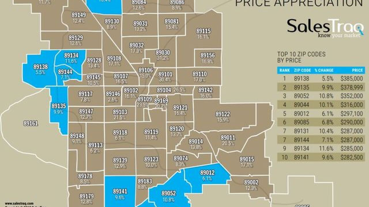summerlin nv zip code map Which Las Vegas Valley Zip Codes Showed Highest Gains In Home Prices