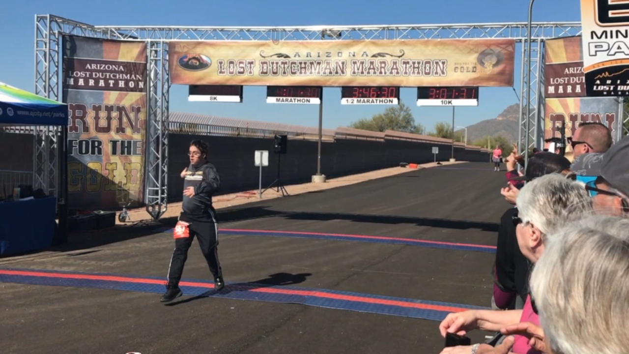 Down syndrome runner at lost dutchman marathon
