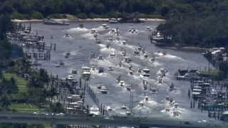 Hundreds of boaters took to the intracoastal waterway on Sunday to show their support for President Trump.