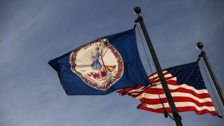 Virginia flag and U.S. flag