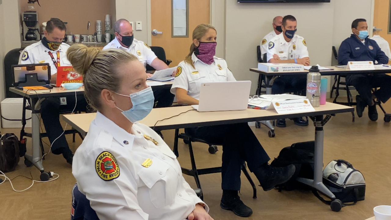 Almost 100 women are firefighters with Palm Beach County Fire Rescue.