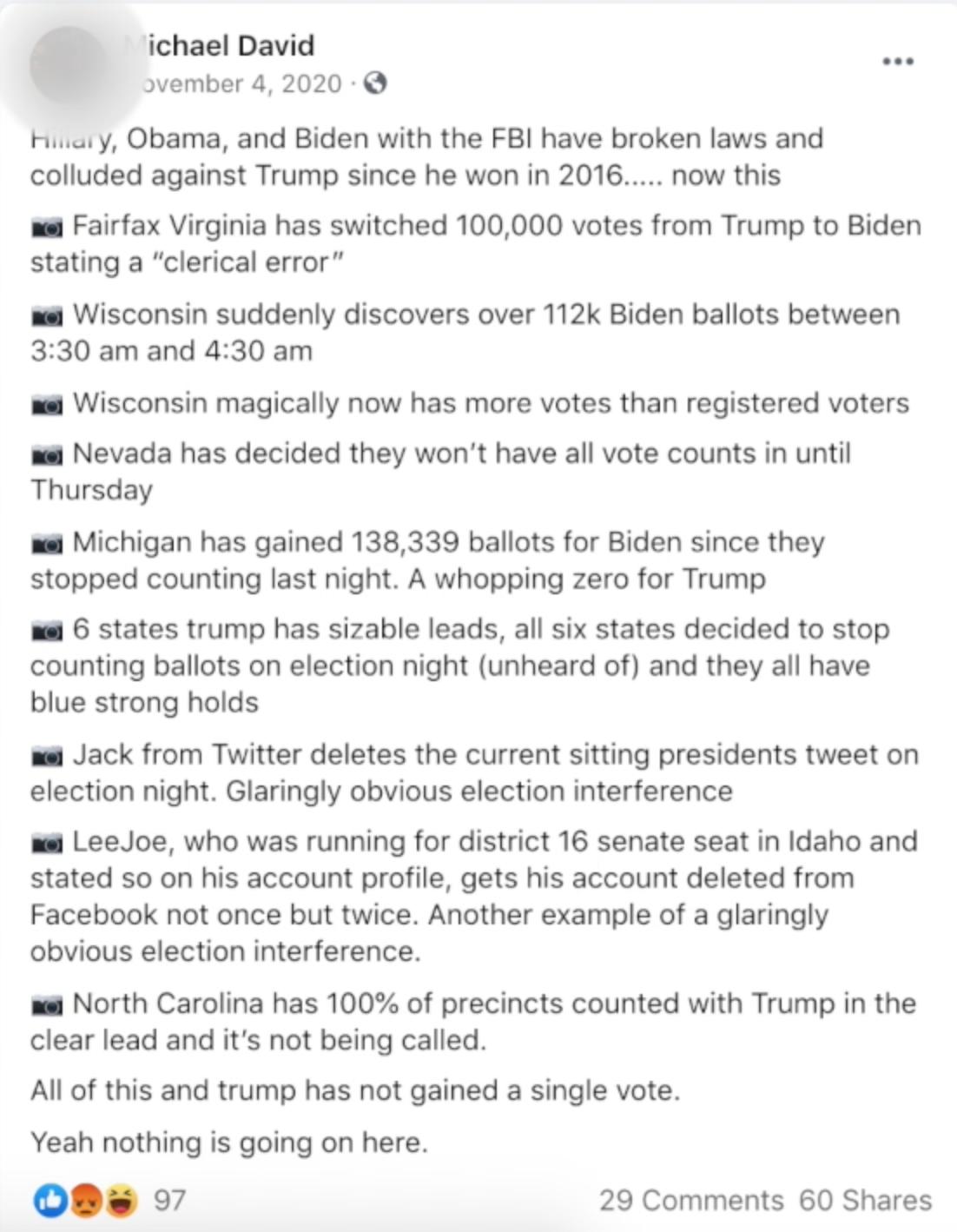Stemmerding Facebook post on Nov. 4, 2020