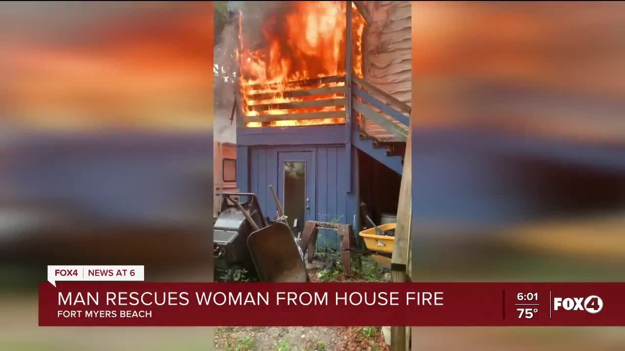 Fort Myers Beach woman rescued from burning home