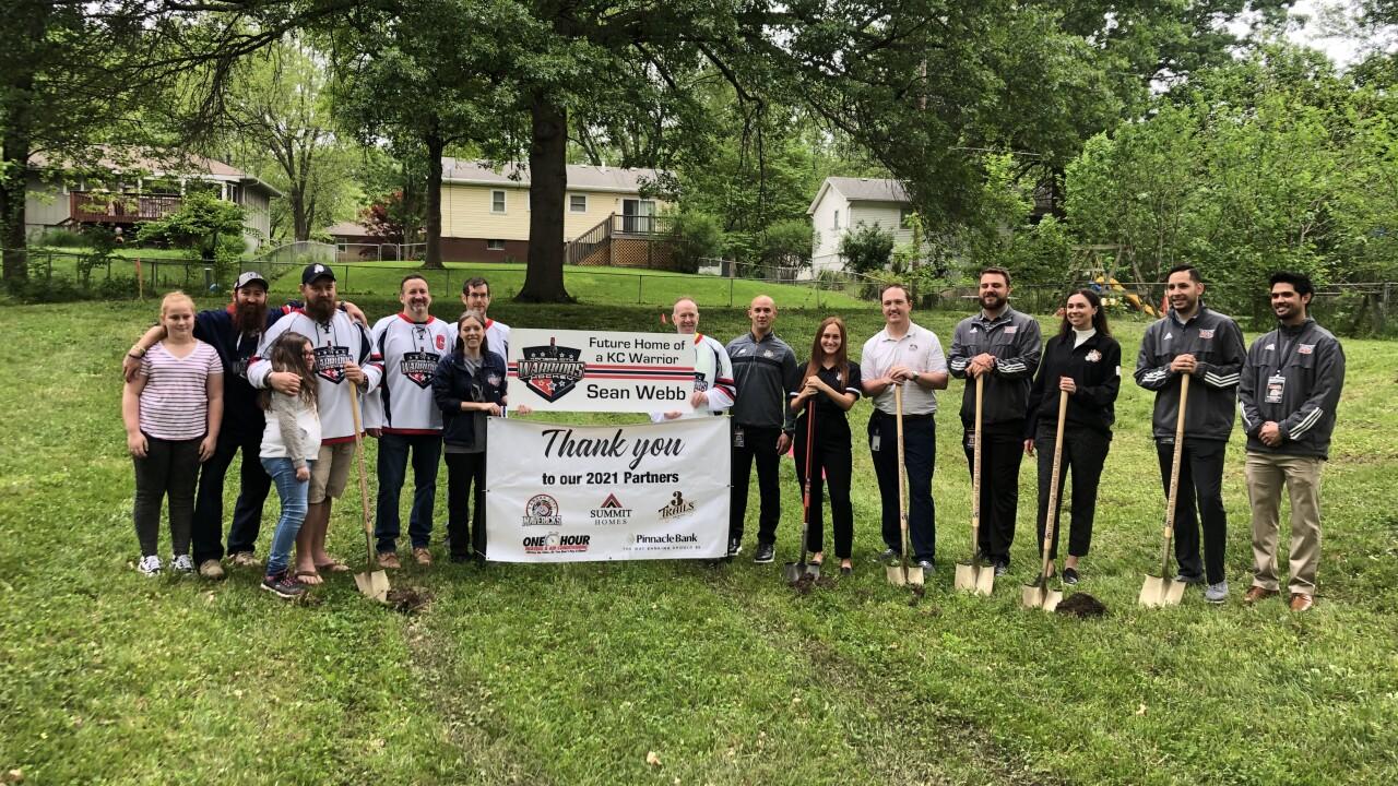Webb family, teammates, Kansas City Mavericks, break ground on new Truman Heritage Habitat for Humanity Veteran Build.