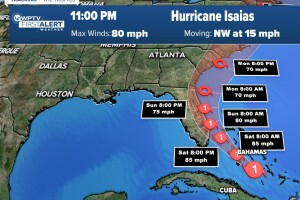 11 p.m. Friday update - Hurricane Isaias