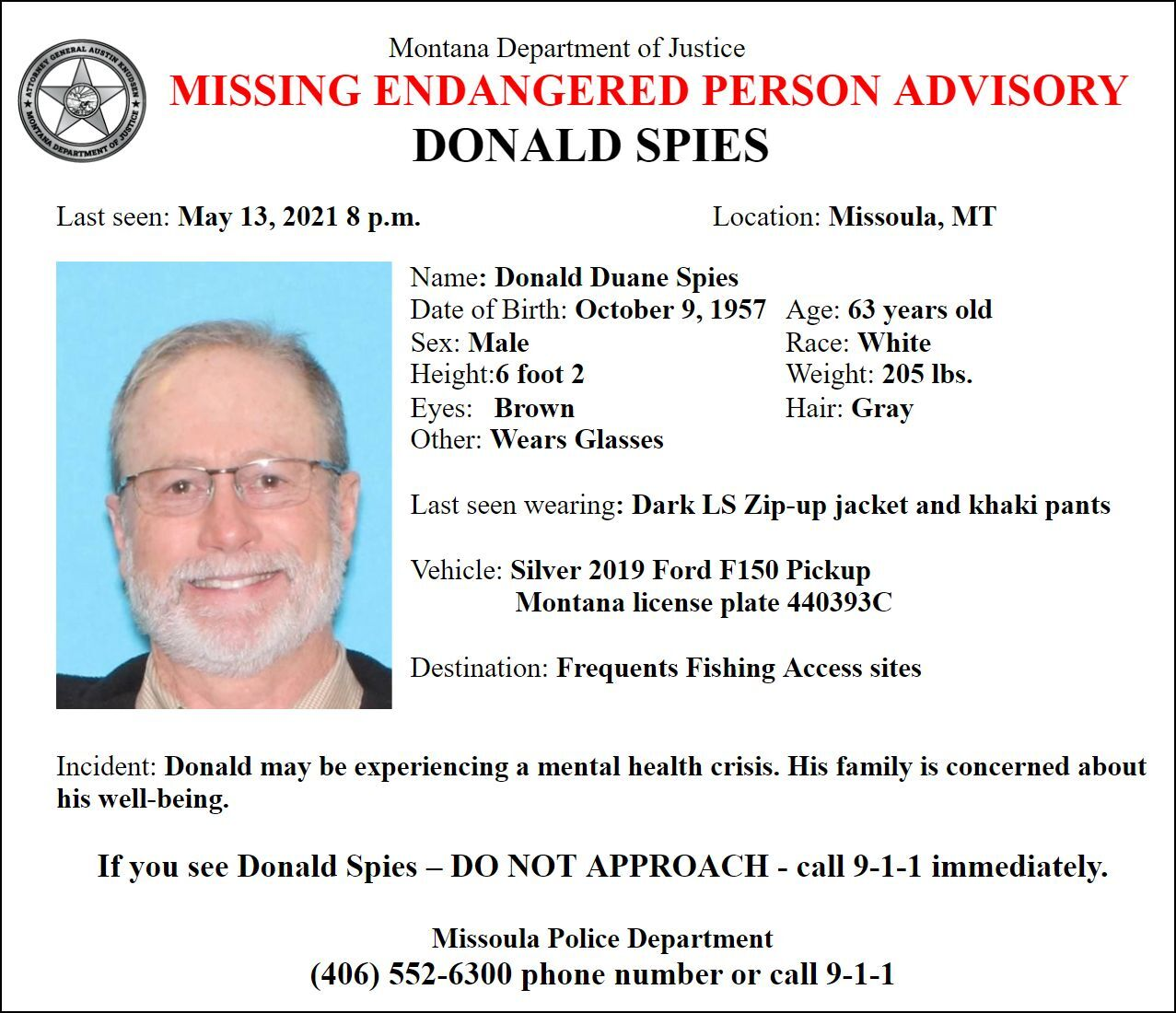 Missing-Endangered Person Advisory for Donald Spies