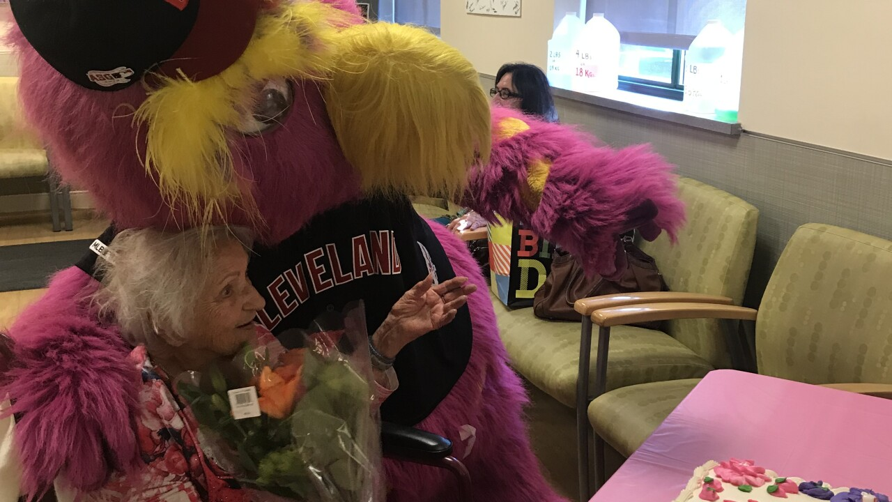 Slider visits 104-year-old fan