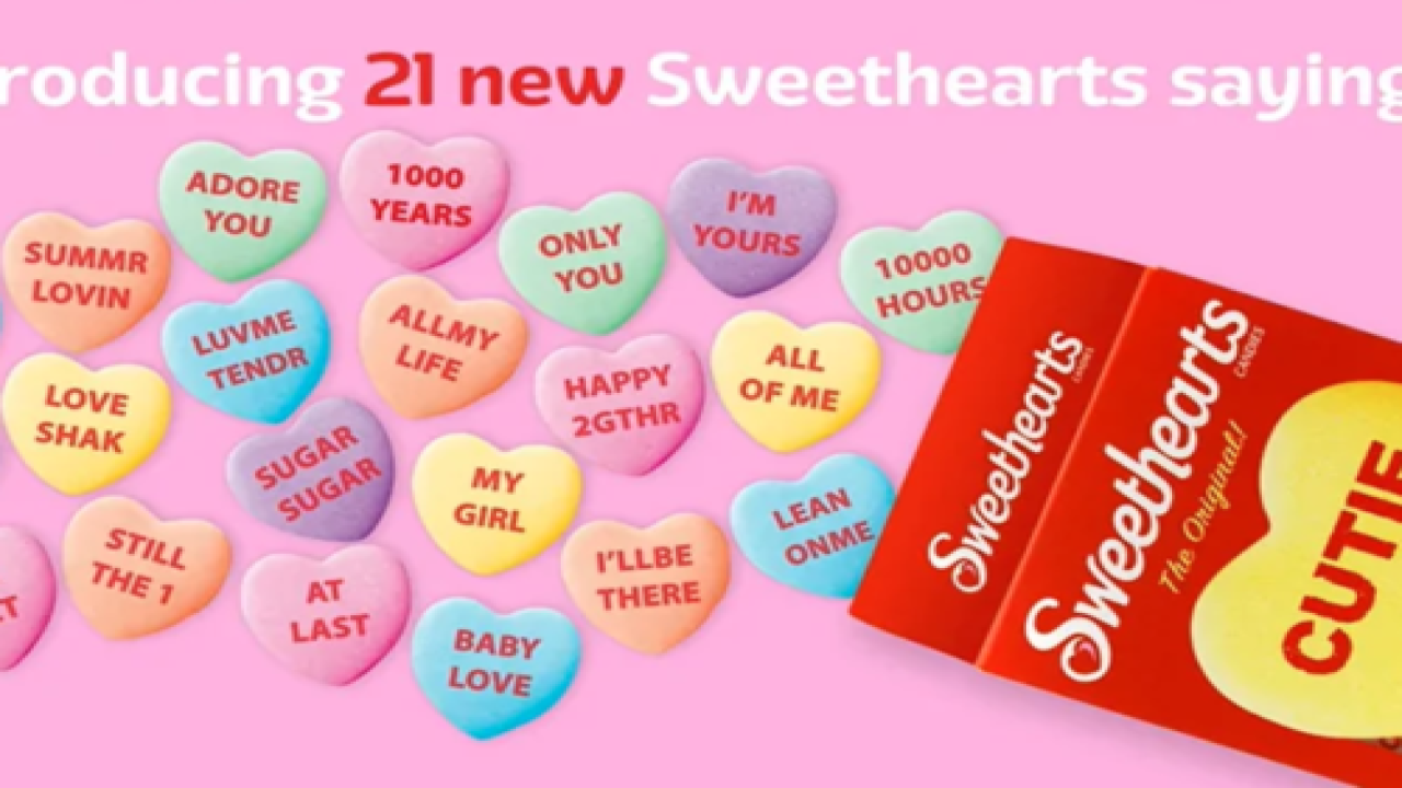 Sweethearts Candies Have New Sayings This Year Inspired By Lyrics From Classic Love Songs