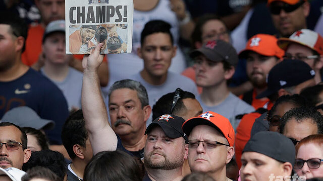 See the Houston Astros and World Series Trophy