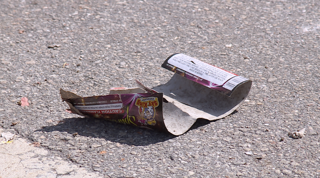 Fireworks label on street at scene of fatal shooting in West Palm Beach