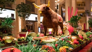 The feature animal in the Chinese New Year display at The Venetian stands 13 feet tall.jpg