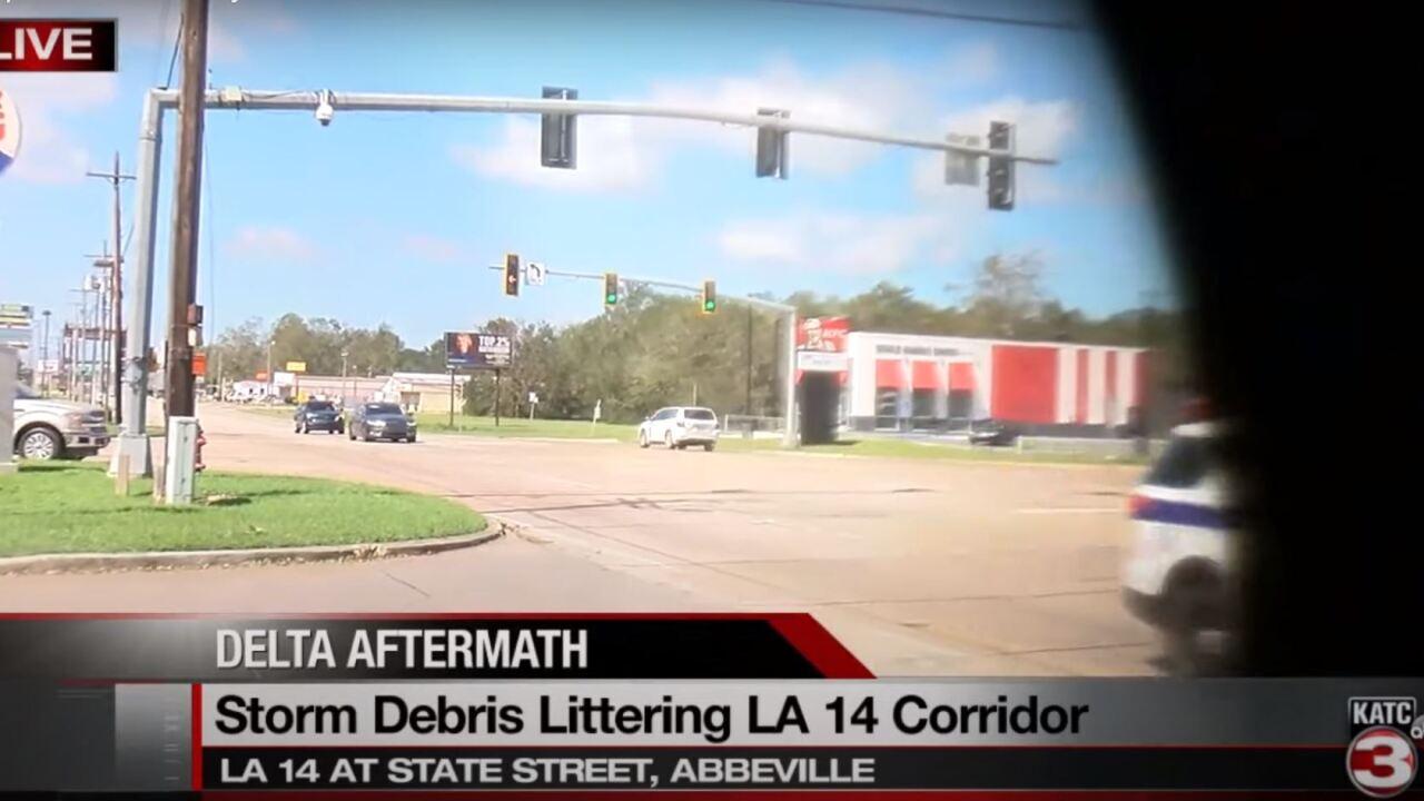 Storm Debris littering LA 14 corridor in Abbeville.JPG
