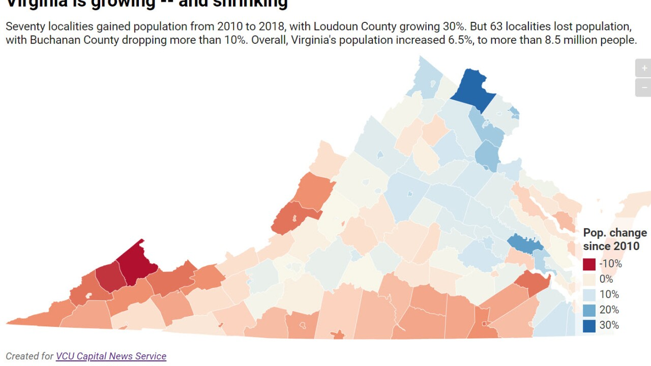 Virginia sees population booms, big declines
