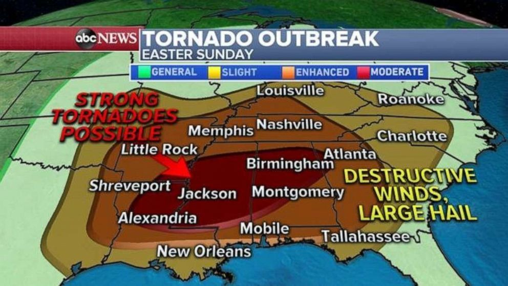The storm prediction center has issued a rather large moderate risk area from Louisiana to Alabama. Additionally, there is a very real concern for destructive straight-lined winds, especially... moreThe storm prediction center has issued a rather large moderate risk area from Louisiana to Alabama. Additionally, there is a very real concern for destructive straight-lined winds, especially across parts of Arkansas, Tennessee and Kentucky. ABC News