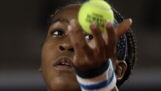 Coco Gauff serves during French Open, Sept. 30, 2020