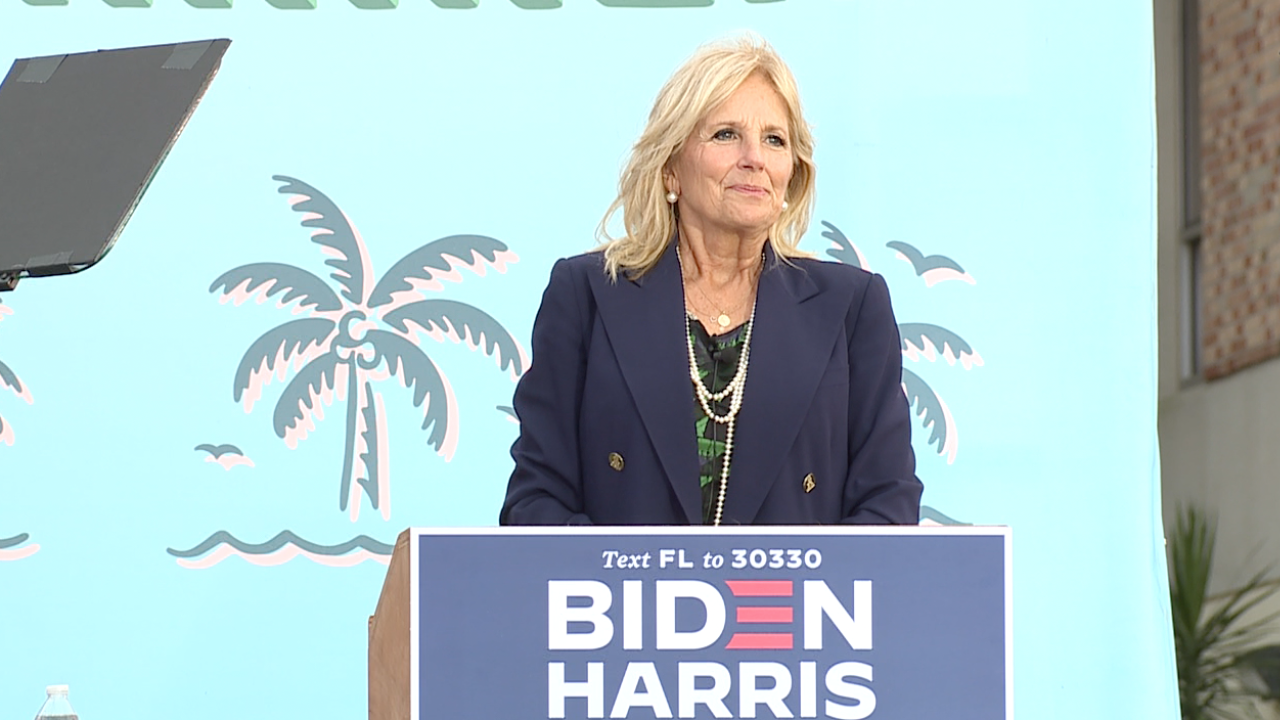 Dr. Jill Biden speaks to a crowd of Biden-Harris supporters at a Tampa drive-in rally