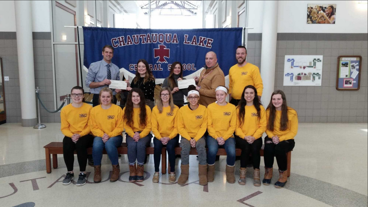 Chautauqua Lake Central girls basketball presents checks to charities in WNY