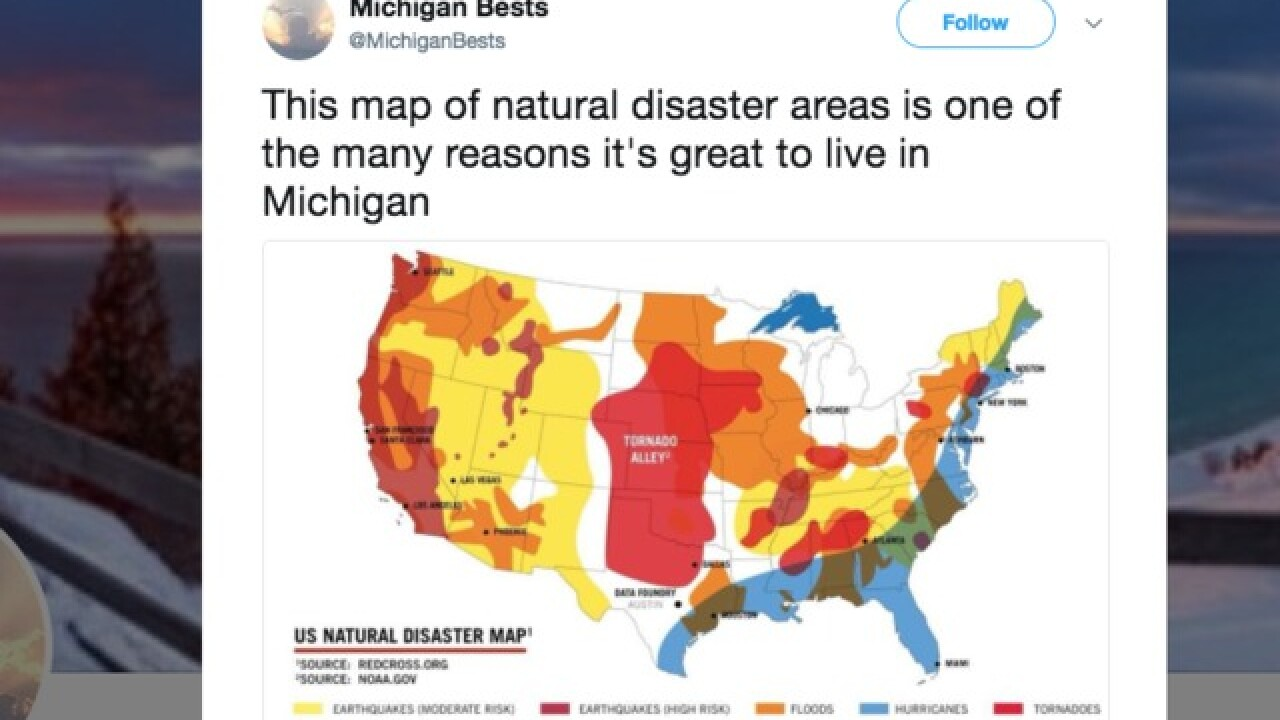 Natural disaster map shows why Michigan is the perfect state