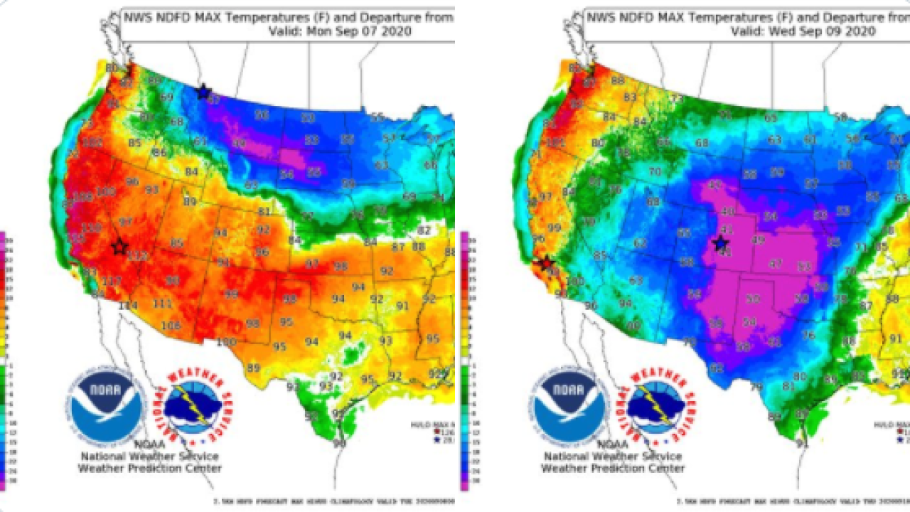 From heat wave to record lows; early season cold snap coming to Rockies and plains