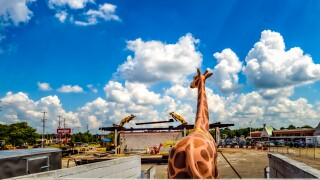 The giraffe that sat on top of the Meijer gas station on West Saginaw Highway is back after it was taken down about two weeks ago.