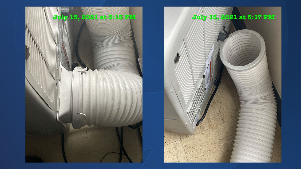 These two photos show the air conditioners that Willis Nibert had in his temporary home. The photo on the left shows the second-floor unit that worked because flexible tubing was attached to the device to draw hot air out a window. The photo on the right shows the air conditioner located on the first floor and flexible tubing sitting next to it. But the air conditioner lacked the part needed to attach the tubing to the device.