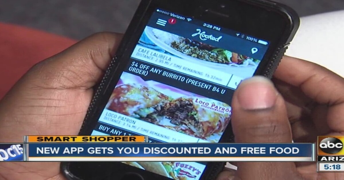Find food discounts in Tempe with Hooked app