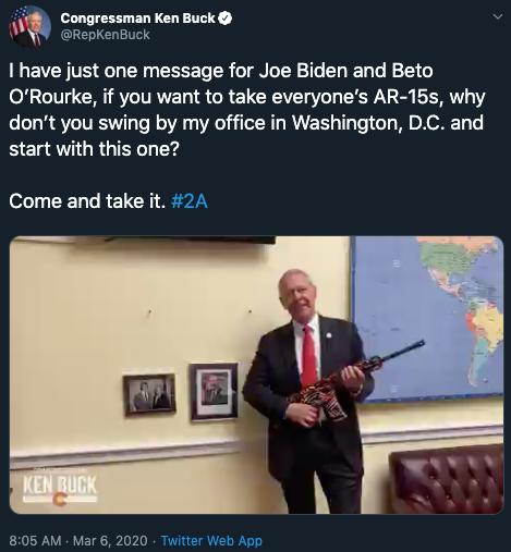Ken Buck tweet on 2A_March 6 2020
