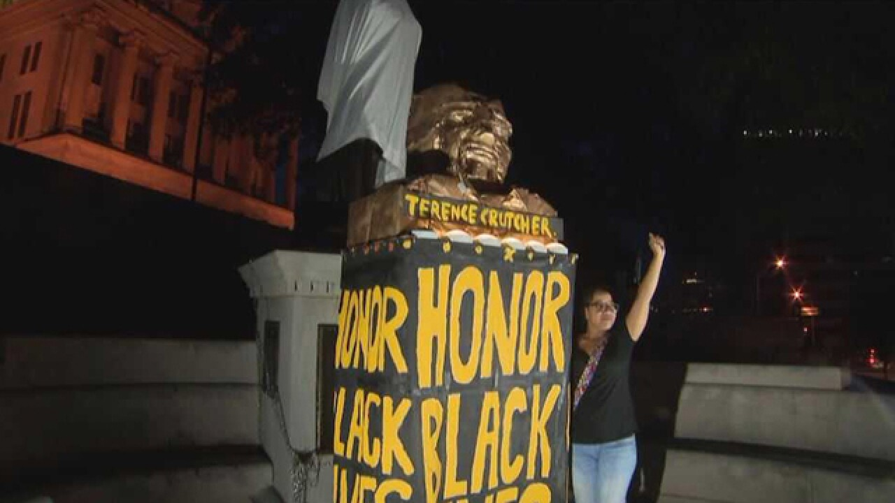 Protesters Cover Sam Davis Monument At State Capitol