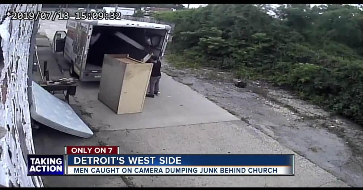 VIDEO: Camera catches men dumping junk behind church