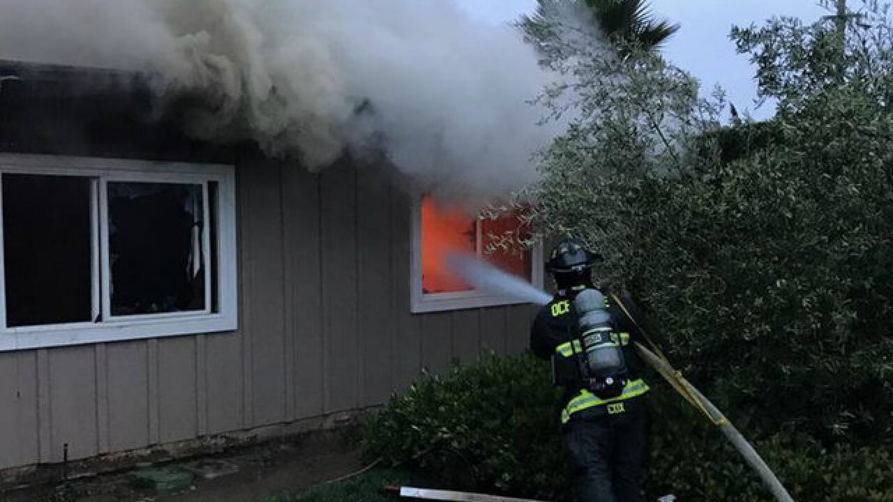 Home near Lilac Fire burn area destroyed by fire