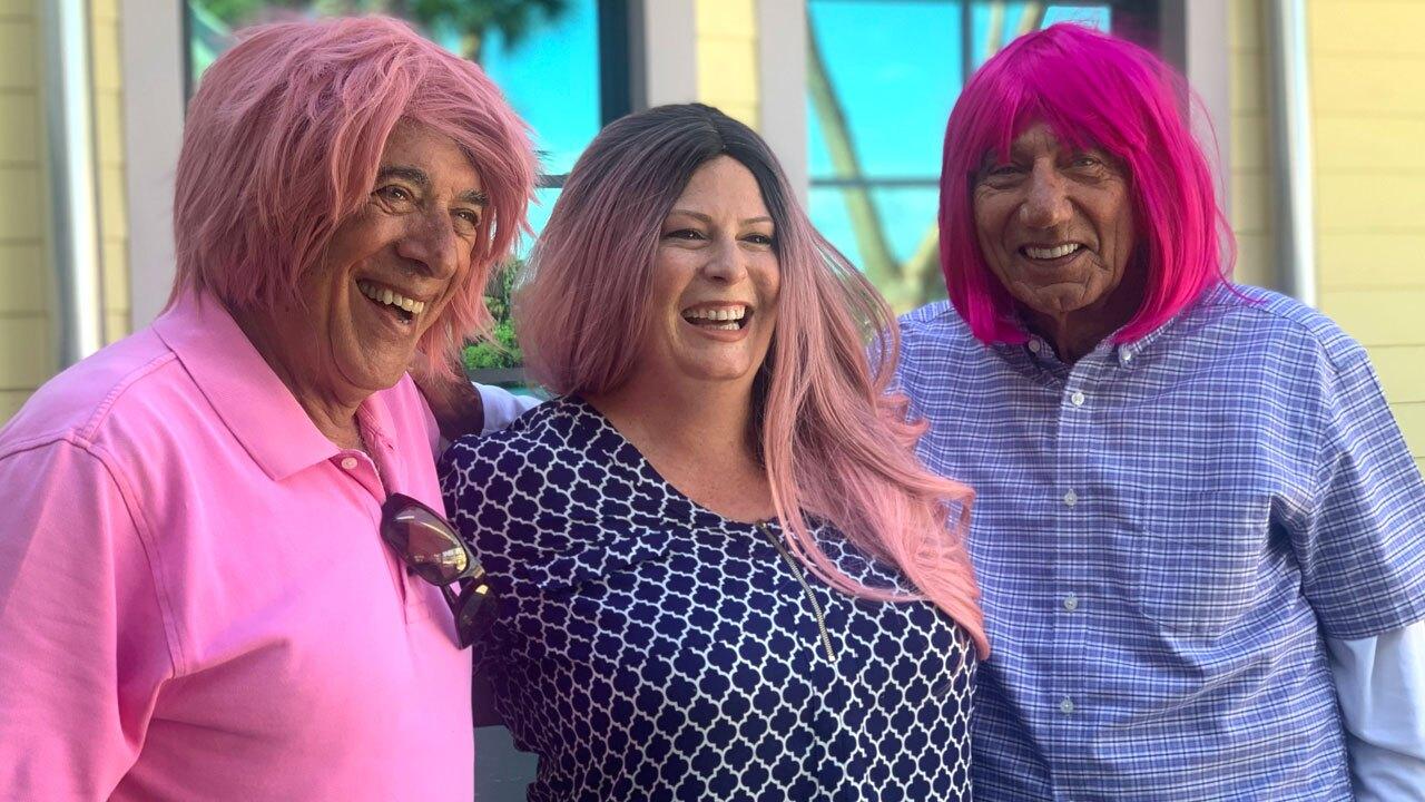 Charlie Modica, Liz Soulen, Joe Namath wear pink wigs for Breast Cancer Awareness Month