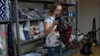 Katie Steffins making blankets