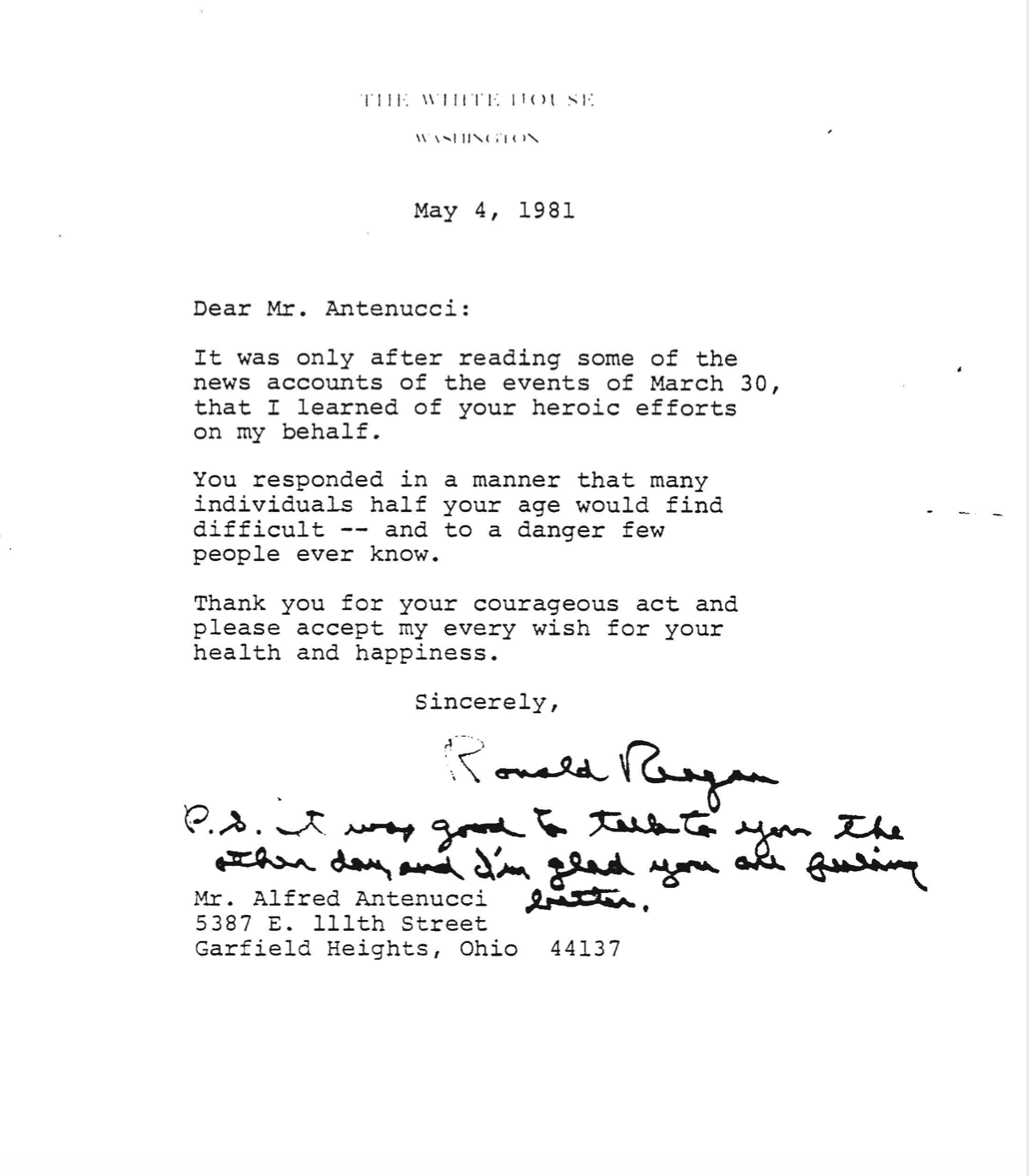 A letter from President Ronald Reagan to Alfred Antenucci