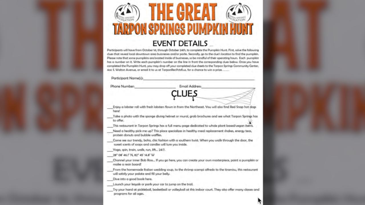 Walking Club: The second annual Great Tarpon Spring Pumpkin Hunt kicks off