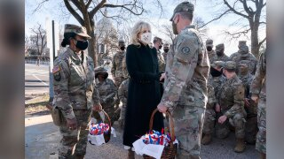 Jill Biden delivers cookies to National Guard