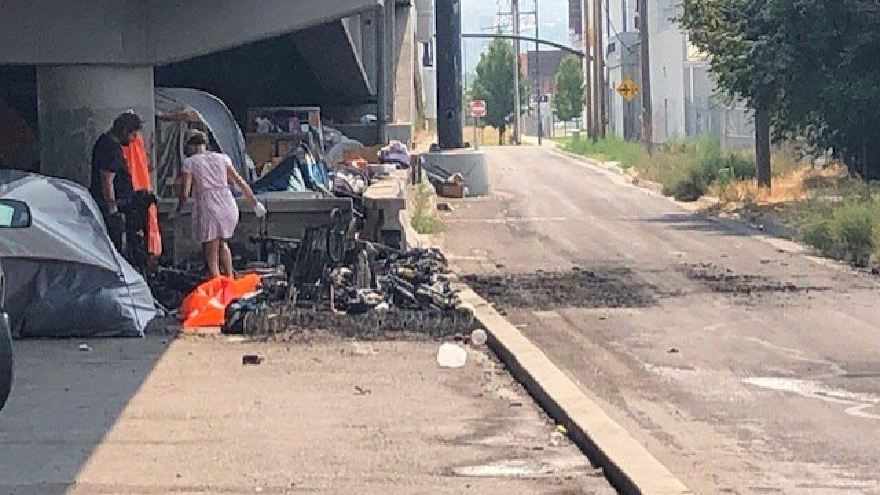 A photo of the charred remains of one of the tents that went up in flames Saturday morning.