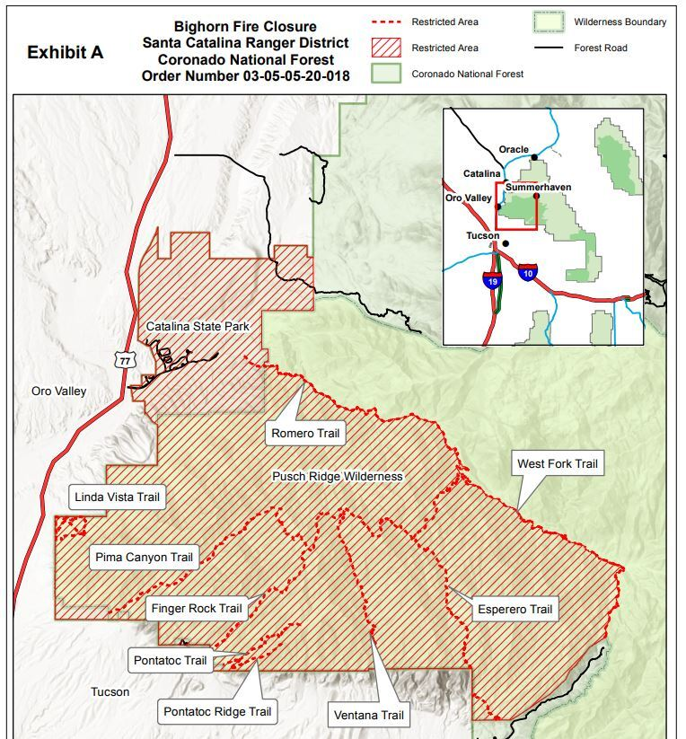 Bighorn Fire Closures as of June 10, 2020
