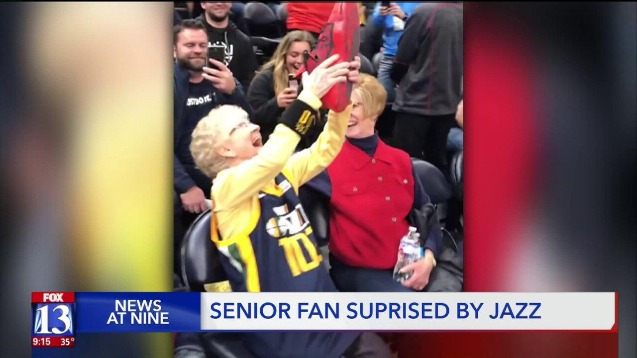 Centenarian fan scores Donovan Mitchell's shoes, team jersey during Utah Jazzgame