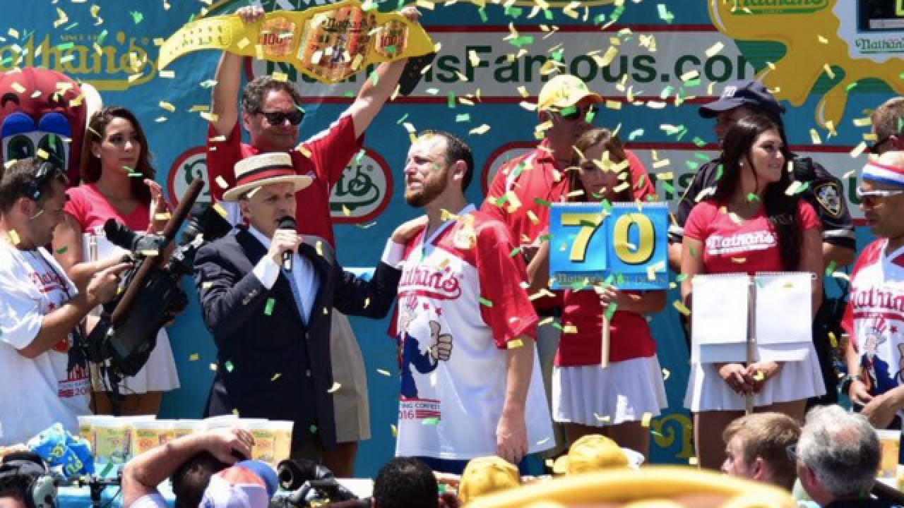 Joey Chestnut downs record 70 hot dogs in eating contest