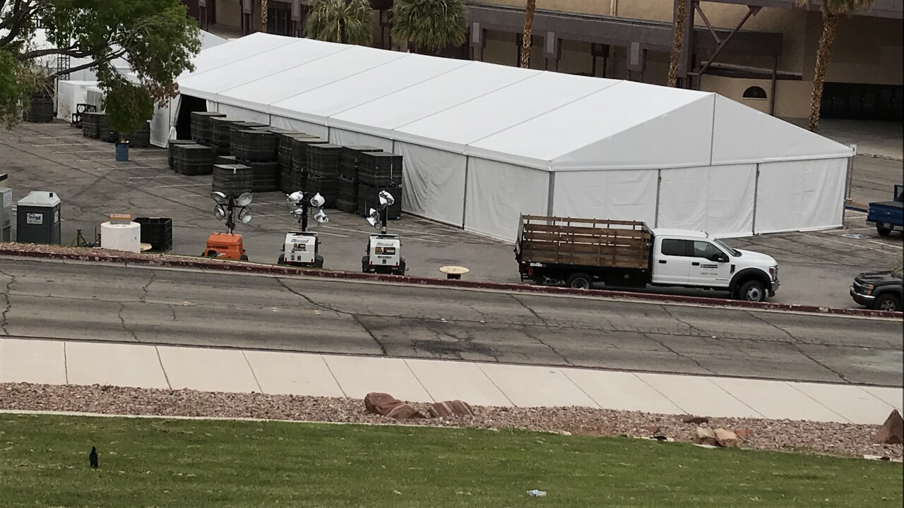 Clark County and the City of Las Vegas are working to construct a temporary treatment facility for COVID-19 patients in the parking lot at Cashman Center