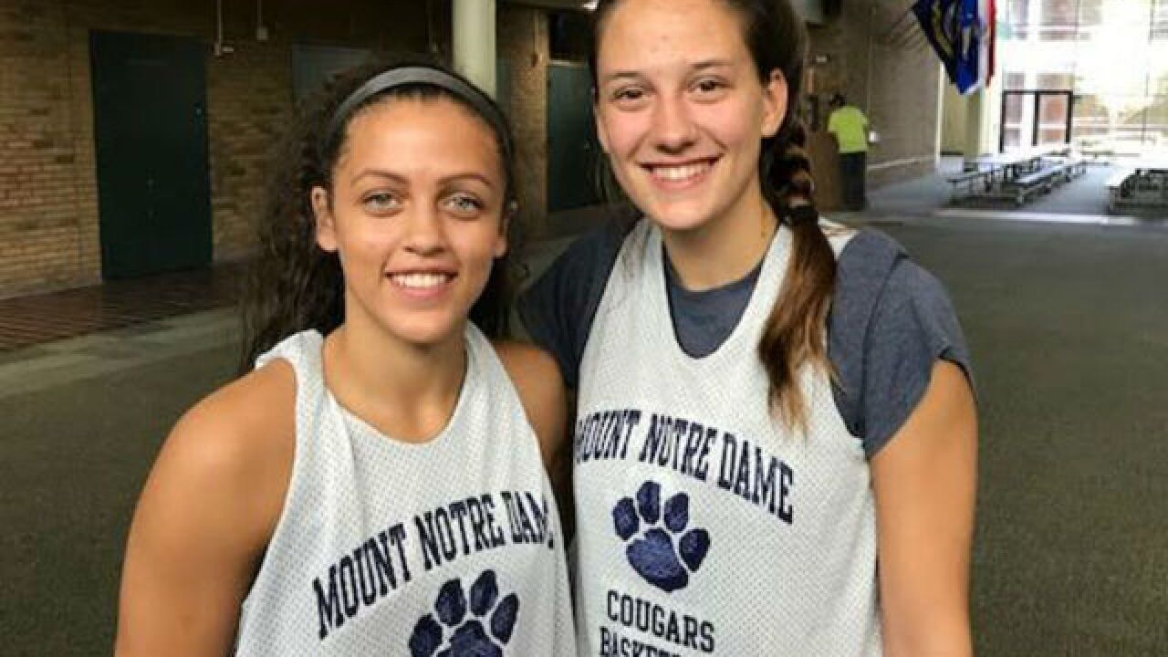 Mount Notre Dame seniors Gabbie Marshall and Julia Hoefling have a special connection on the court