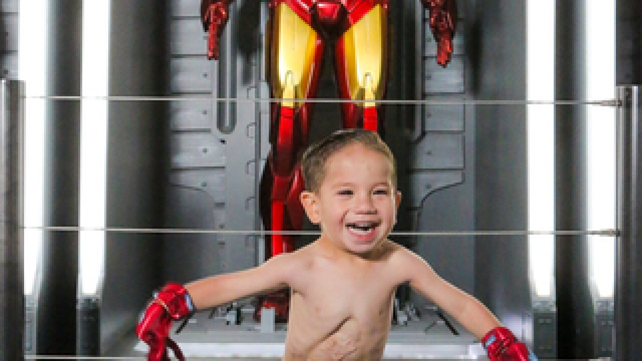 Heart Foundation introduces 2-year-old Iron Man