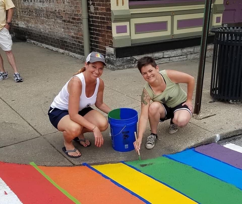 Bonnie Meyer and a rainbow crosswalk