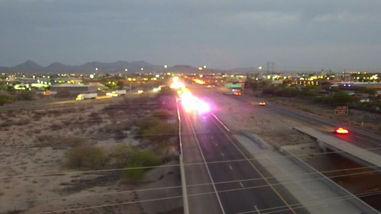 A wreck slowed traffic on eastbound Interstate 10 east of town Tuesday.