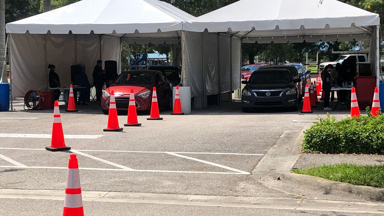 Drive-thru COVID-19 testing at Gaines Park on Sept. 3, 2021